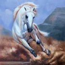 """Simple modern Hand painted oil painting on canvas""""Akhal-teke horses""""60x90CM(23.6""""x35.4"""")Unframed-39"""