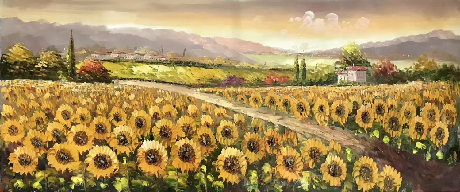 "Hand painted oil painting on canvas""Image of the countryside""70x180CM(27.6""x70.9"")Unframed-88"
