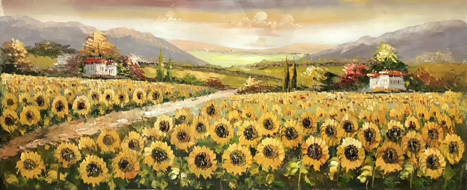 "Hand painted oil painting on canvas""Image of the countryside""70x180CM(27.6""x70.9"")Unframed-89"