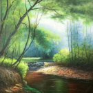 "Hand painted oil painting on canvas""Creek""60x90CM(23.6""x35.4"")Unframed-225"