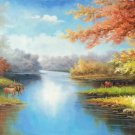 "Hand painted oil painting on canvas""Creek""50x150CM(20""x60"")Unframed-228"