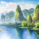"""Hand painted oil painting on canvas""""Creek""""50x150CM(20""""x60"""")Unframed-230"""