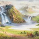 """Hand painted oil painting on canvas""""Image of the countryside""""70x180CM(27.6""""x70.9"""")Unframed-96"""