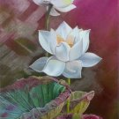 """Chinese style Hand painted oil painting on canvas""""lotus""""60x120CM(23.6""""x47.2"""")Unframed-63"""