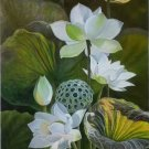 """Chinese style Hand painted oil painting on canvas""""lotus""""60x120CM(23.6""""x47.2"""")Unframed-64"""
