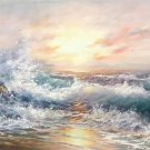 """Simple modern Hand painted oil painting on canvas""""Waves""""70x180CM(30""""x72"""")Unframed-11"""