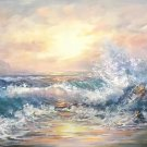 "Hand painted oil painting on canvas""Waves""70x180CM(30""x72"")Unframed-13"