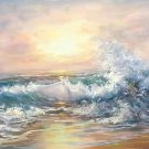 """Simple modern Hand painted oil painting on canvas""""Waves""""70x180CM(30""""x72"""")Unframed-14"""