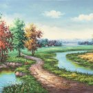 "Hand painted oil painting on canvas""Creek""60x120CM(23.6""x47.2"")Unframed-252"