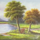 """Hand painted oil painting on canvas""""Image of the countryside""""50x150CM(20""""x60"""")Unframed-113"""