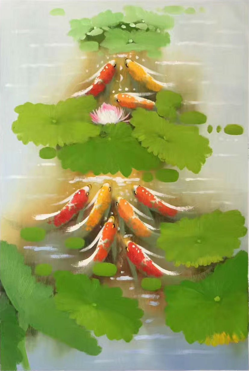 """Chinese style Hand painted oil painting on canvas""""carp""""60x90CM(24""""x36"""")Unframed-11"""