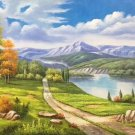 "Hand painted oil painting on canvas""Creek""60x145CM(24""x57"")Unframed-268"