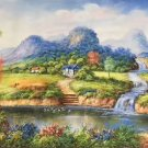 "Hand painted oil painting on canvas""Creek""60x120CM(23.6""x47.2"")Unframed-274"