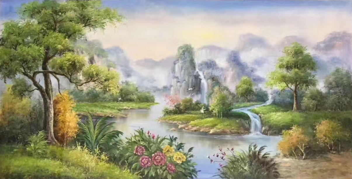 """Hand painted oil painting on canvas""""Creek""""60x120CM(23.6""""x47.2"""")Unframed-276"""