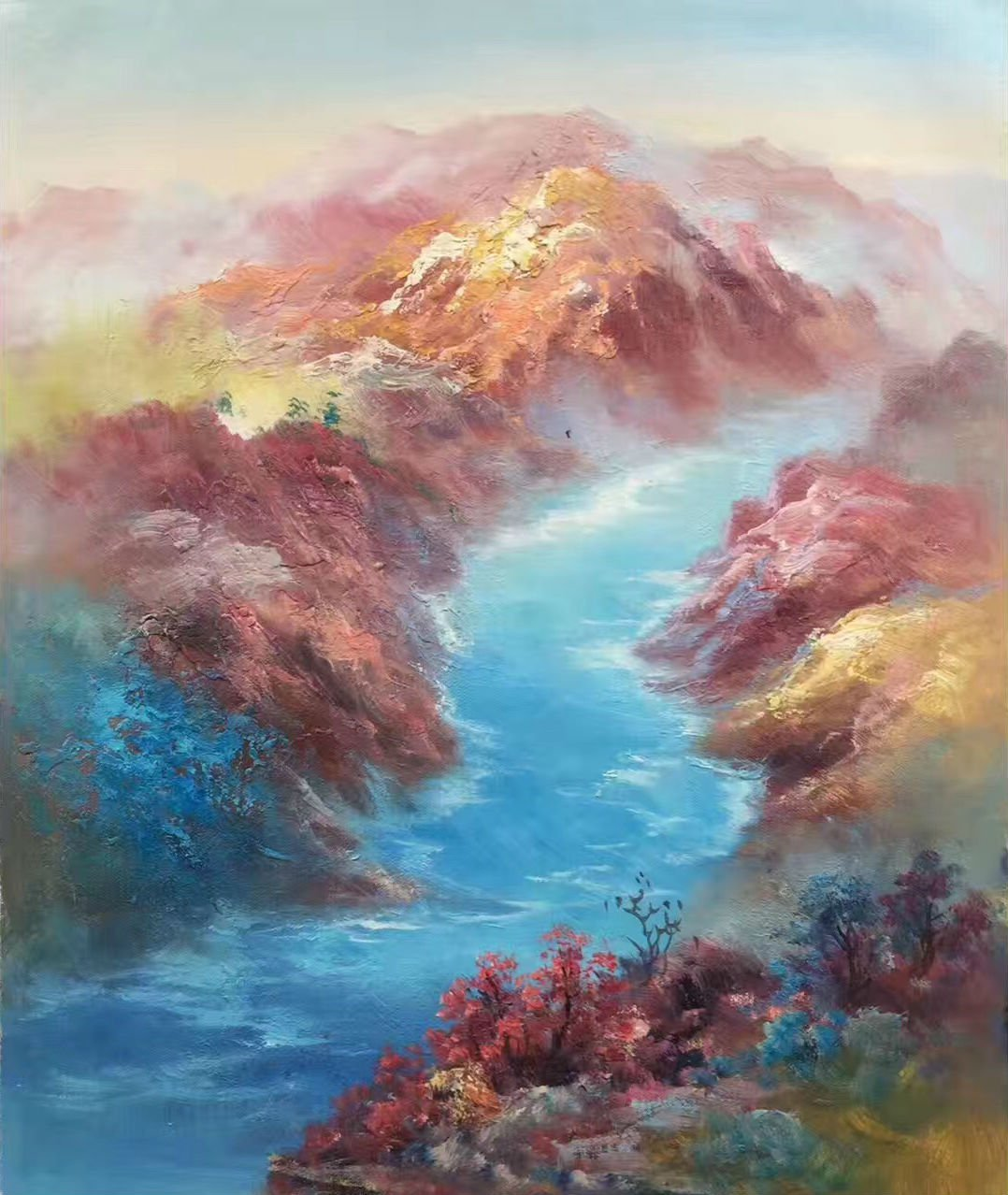 "Simple modern Hand painted oil painting on canvas""dusk""50x60CM(19.7""x23.6"")Unframed-27"