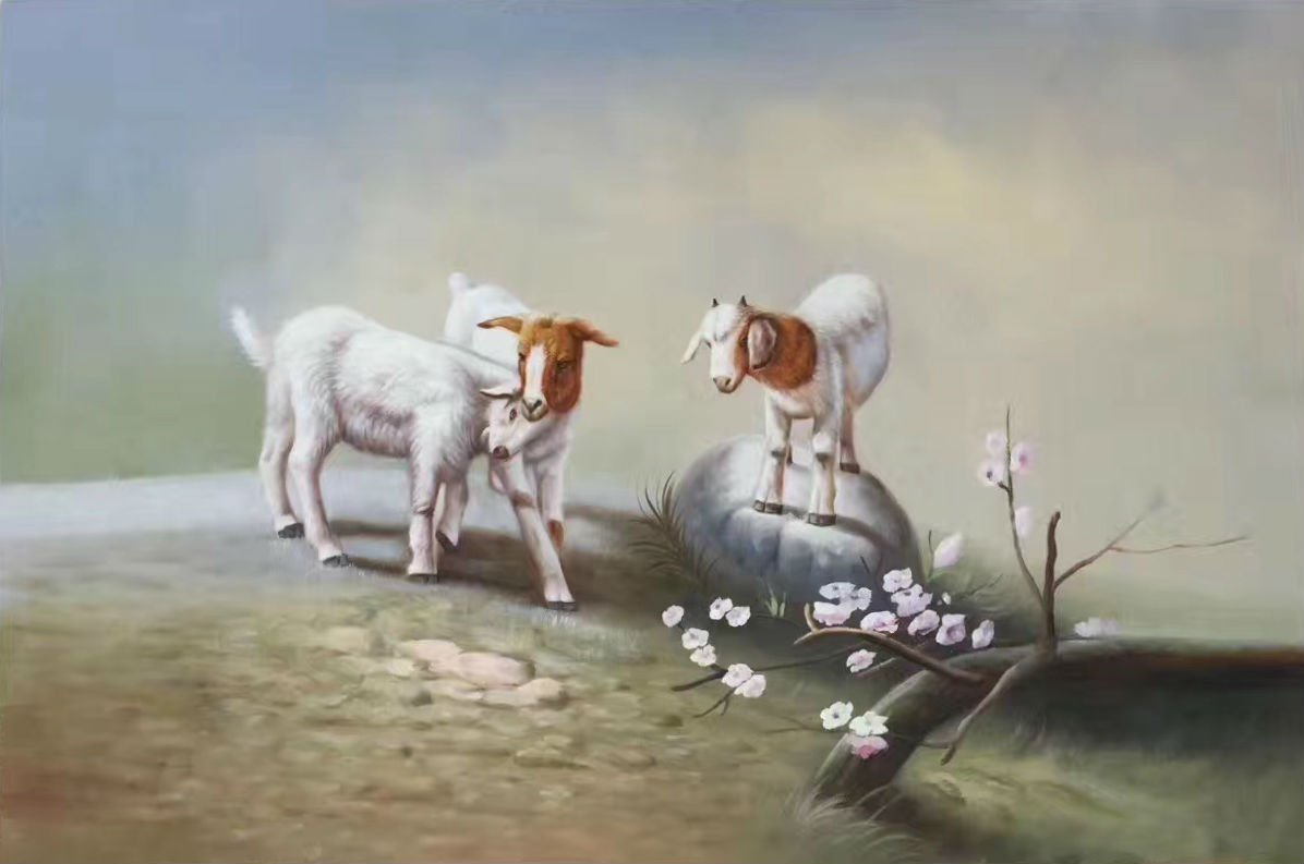 """Simple modern Hand painted oil painting on canvas""""Sheep""""60x90CM(24""""x36"""")Unframed-13"""