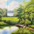 """Hand painted oil painting on canvas""""Creek""""60x120CM(23.6""""x47.2"""")Unframed-304"""