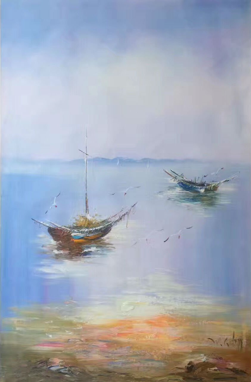 """Hand painted oil painting on canvas""""Fishing boat""""60x90CM(23.6""""x35.4"""")Unframed-42"""