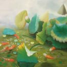 "Chinese style Hand painted oil painting on canvas""lotus""60x120CM(23.6""x47.2"")Unframed-66"