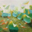 "Chinese style Hand painted oil painting on canvas""lotus""60x120CM(23.6""x47.2"")Unframed-67"