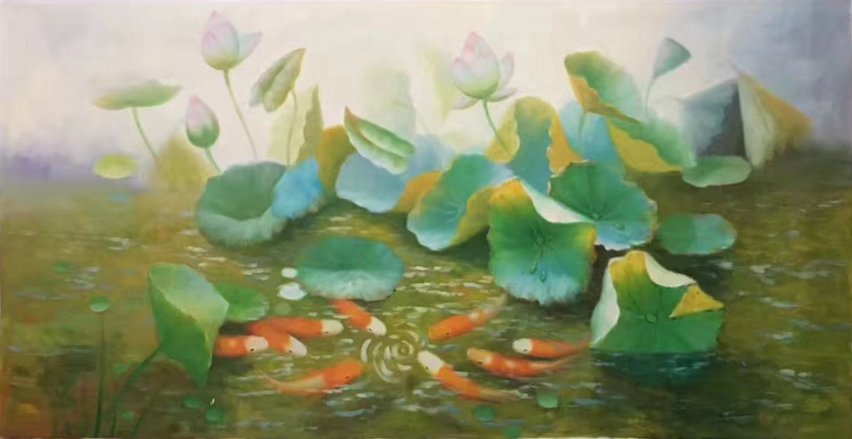 """Chinese style Hand painted oil painting on canvas""""lotus""""60x120CM(23.6""""x47.2"""")Unframed-68"""