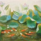 "Chinese style Hand painted oil painting on canvas""lotus""60x120CM(23.6""x47.2"")Unframed-68"