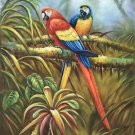 """Hand painted oil painting on canvas""""Colorful parrot""""60x90CM(24""""x36"""")Unframed-08"""