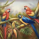 """Hand painted oil painting on canvas""""Colorful parrot""""60x90CM(24""""x36"""")Unframed-11"""