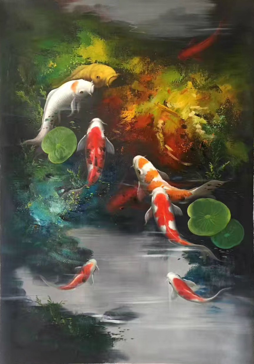 """Chinese style Hand painted oil painting on canvas""""carp""""60x90CM(24""""x36"""")Unframed-17"""
