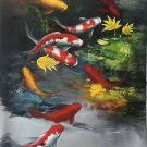 """Chinese style Hand painted oil painting on canvas""""carp""""60x90CM(24""""x36"""")Unframed-19"""