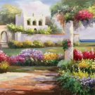 """American style Hand painted oil painting on canvas""""Private garden""""60x120CM(23.6""""x47.2"""")Unframed-35"""