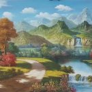 """Hand painted oil painting on canvas""""Creek""""50x150CM(20""""x60"""")Unframed-323"""