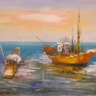 """Hand painted oil painting on canvas""""Fishing boat""""60x120CM(24""""x48"""")Unframed-59"""