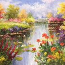 """American style Hand painted oil painting on canvas""""Private garden""""60x120CM(23.6""""x47.2"""")Unframed-38"""