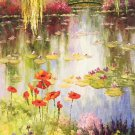 """American style Hand painted oil painting on canvas""""Private garden""""60x120CM(23.6""""x47.2"""")Unframed-41"""