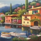 "Hand painted oil painting on canvas""Sea view Villa""60x120CM(23.6""x47.2"")Unframed-80"