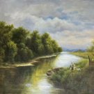 """Hand painted oil painting on canvas""""Creek""""50x60CM(19.7""""x23.6"""")Unframed-330"""