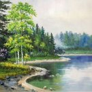"Hand painted oil painting on canvas""Creek""50x60CM(19.7""x23.6"")Unframed-335"
