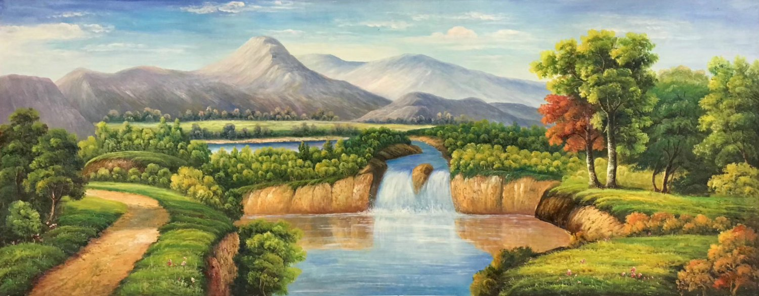 """American style Hand painted oil painting on canvas""""Creek""""70x180CM(27.6""""x70.9"""")Unframed-361"""