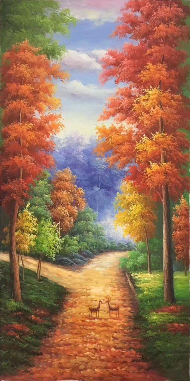 "Simple modern Hand painted oil painting on canvas""Milu Deer""60x120CM(23.6""x47.2"")Unframed-15"