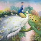 """Simple modern Hand painted oil painting on canvas""""Gorgeous peacock""""60x90CM(23.6""""x35.4"""")Unframed-60"""