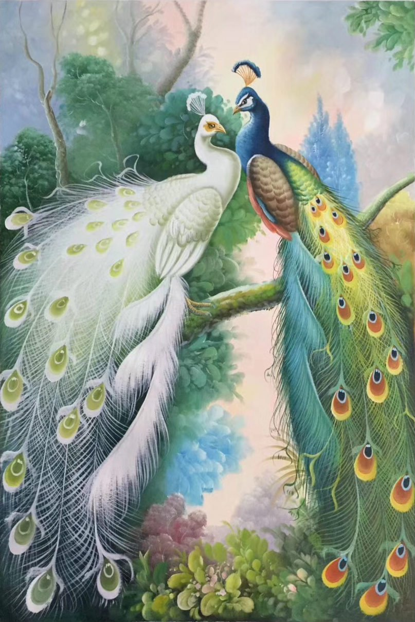 """Simple modern Hand painted oil painting on canvas""""Gorgeous peacock""""60x90CM(23.6""""x35.4"""")Unframed-64"""