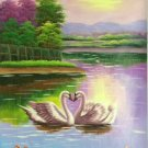"""Simple modern Hand painted oil painting on canvas""""swan""""60x90CM(23.6""""x35.4"""")Unframed-17"""