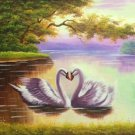 "Simple modern Hand painted oil painting on canvas""swan""60x90CM(23.6""x35.4"")Unframed-19"