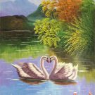 """Simple modern Hand painted oil painting on canvas""""swan""""60x90CM(23.6""""x35.4"""")Unframed-26"""