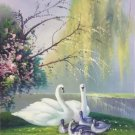 "Chinese style Hand painted oil painting on canvas""swan""50x60CM(19.7""x23.6"")Unframed-28"