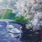 """Chinese style Hand painted oil painting on canvas""""swan""""50x60CM(19.7""""x23.6"""")Unframed-29"""