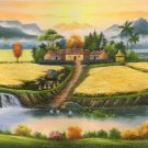 """Hand painted oil painting on canvas""""Image of the countryside""""60x120CM(23.6""""x47.2"""")Unframed-156"""