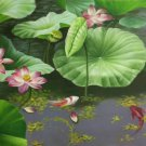 """Chinese style Hand painted oil painting on canvas""""lotus""""60x120CM(23.6""""x47.2"""")Unframed-71"""