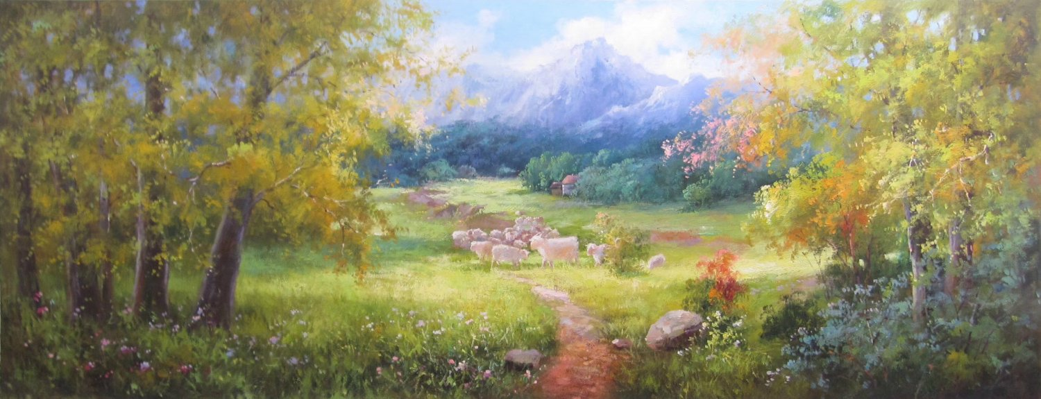 """American style Hand painted oil painting on canvas""""Sheep""""70x180CM(27.6""""x70.9"""")Unframed-16"""